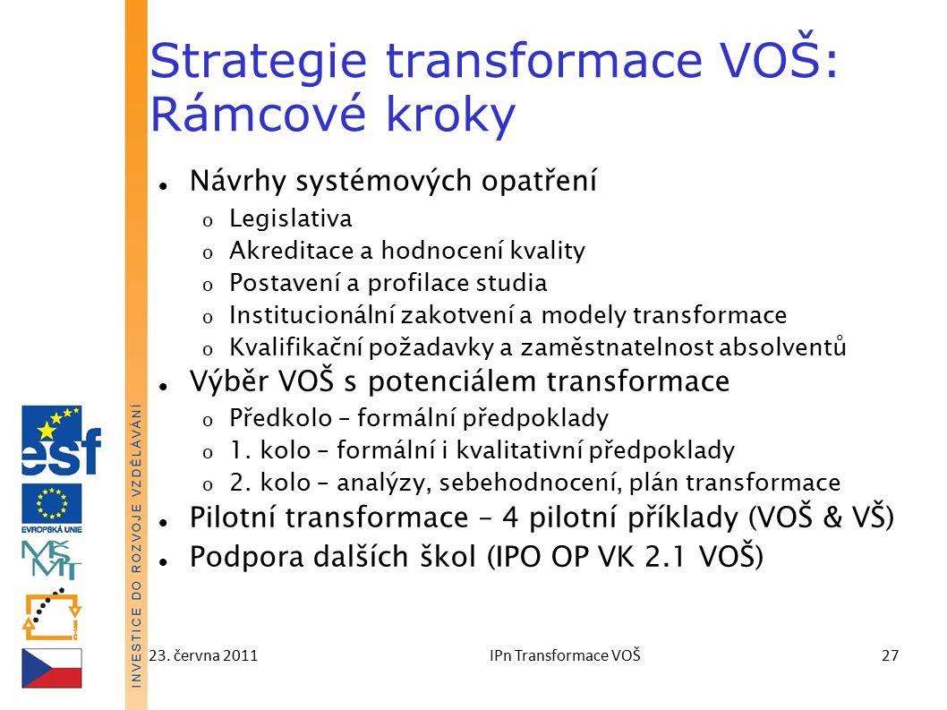 23. června 2011IPn Transformace VOŠ27 Strategie transformace VOŠ: Rámcové kroky Návrhy systémových opatření o Legislativa o Akreditace a hodnocení kva