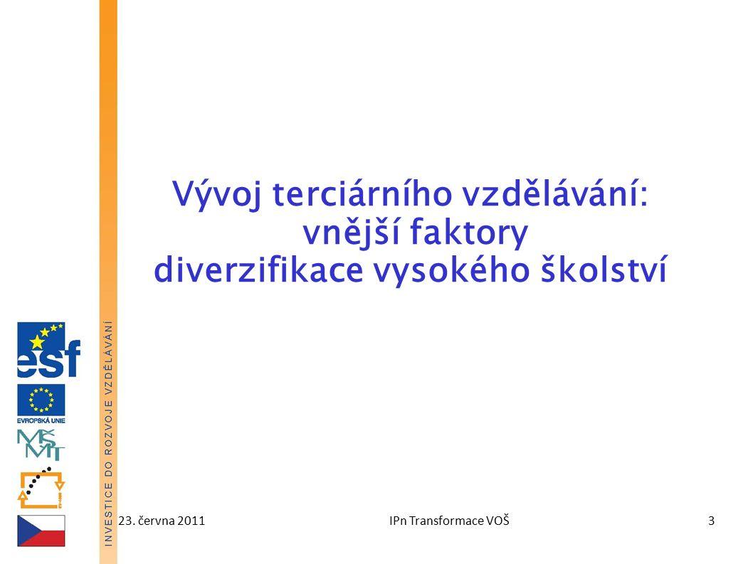 23. června 2011IPn Transformace VOŠ3 Vývoj terciárního vzdělávání: vnější faktory diverzifikace vysokého školství