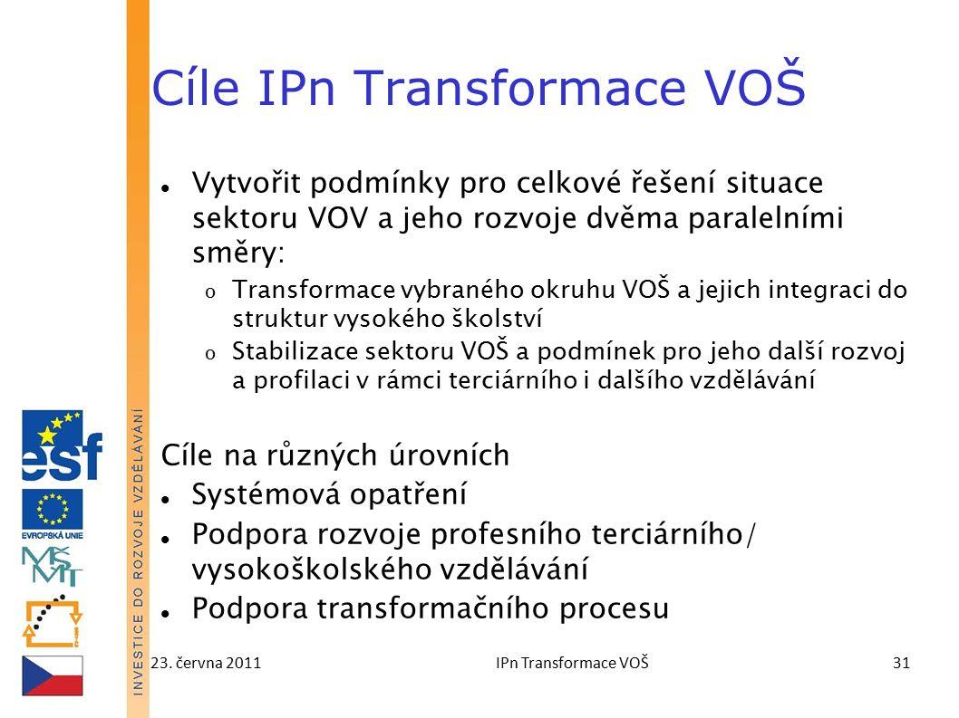 23. června 2011IPn Transformace VOŠ31 Cíle IPn Transformace VOŠ Vytvořit podmínky pro celkové řešení situace sektoru VOV a jeho rozvoje dvěma paraleln
