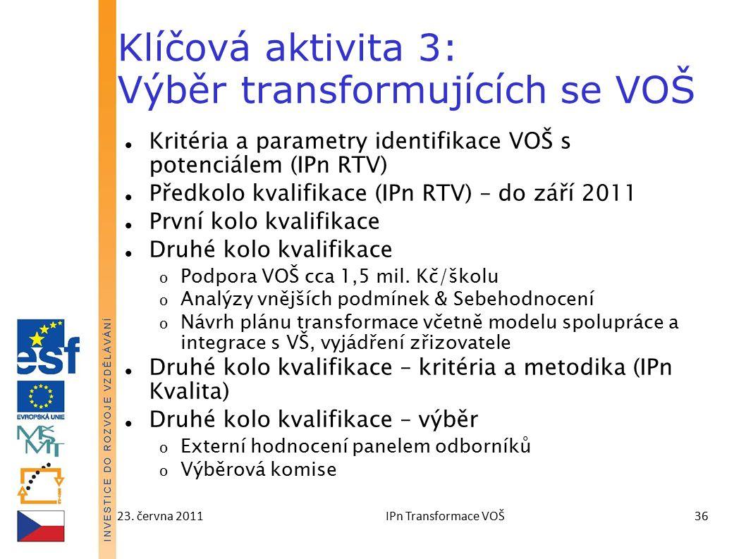 23. června 2011IPn Transformace VOŠ36 Klíčová aktivita 3: Výběr transformujících se VOŠ Kritéria a parametry identifikace VOŠ s potenciálem (IPn RTV)