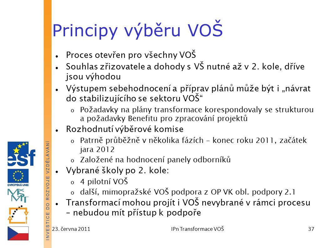 23. června 2011IPn Transformace VOŠ37 Principy výběru VOŠ Proces otevřen pro všechny VOŠ Souhlas zřizovatele a dohody s VŠ nutné až v 2. kole, dříve j