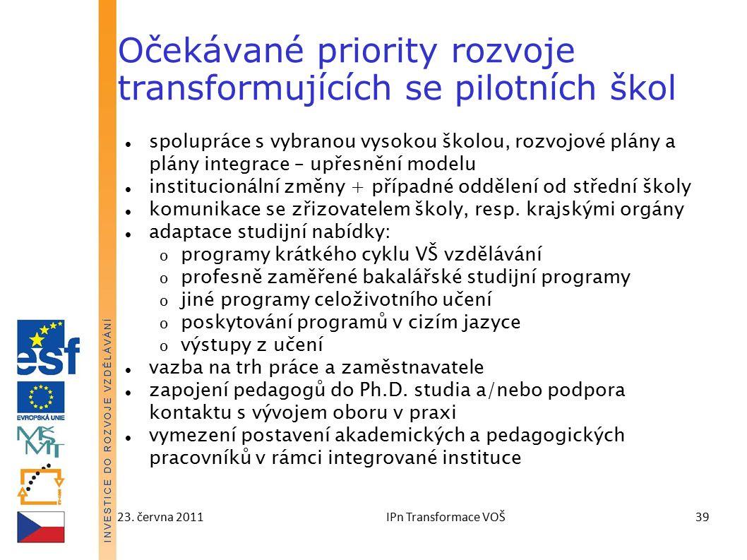 23. června 2011IPn Transformace VOŠ39 Očekávané priority rozvoje transformujících se pilotních škol spolupráce s vybranou vysokou školou, rozvojové pl