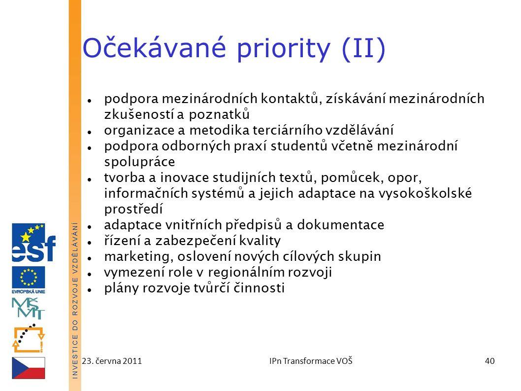 23. června 2011IPn Transformace VOŠ40 Očekávané priority (II) podpora mezinárodních kontaktů, získávání mezinárodních zkušeností a poznatků organizace
