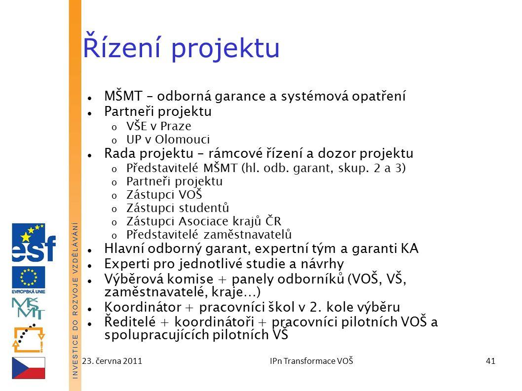 23. června 2011IPn Transformace VOŠ41 Řízení projektu MŠMT – odborná garance a systémová opatření Partneři projektu o VŠE v Praze o UP v Olomouci Rada
