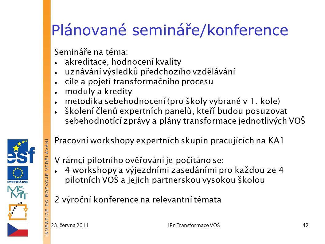 23. června 2011IPn Transformace VOŠ42 Plánované semináře/konference Semináře na téma: akreditace, hodnocení kvality uznávání výsledků předchozího vzdě