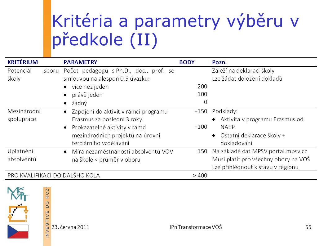 23. června 2011IPn Transformace VOŠ55 Kritéria a parametry výběru v předkole (II)