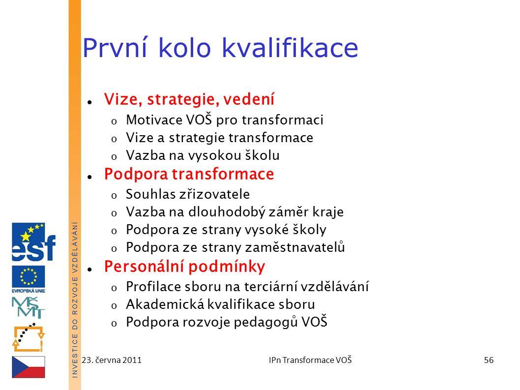 23. června 2011IPn Transformace VOŠ56 První kolo kvalifikace Vize, strategie, vedení o Motivace VOŠ pro transformaci o Vize a strategie transformace o