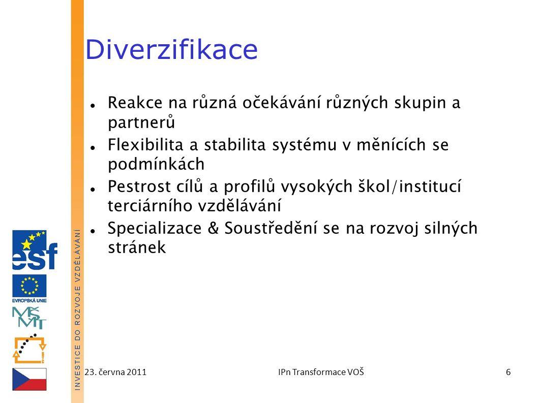 23. června 2011IPn Transformace VOŠ6 Diverzifikace Reakce na různá očekávání různých skupin a partnerů Flexibilita a stabilita systému v měnících se p