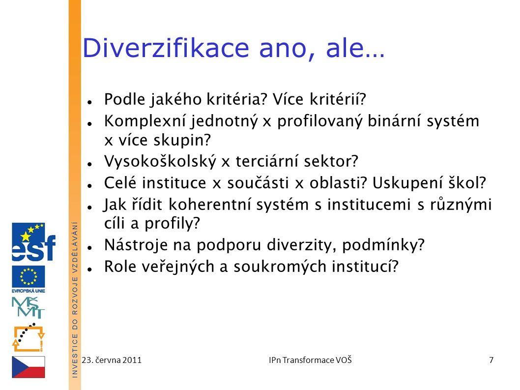 23. června 2011IPn Transformace VOŠ7 Diverzifikace ano, ale… Podle jakého kritéria.