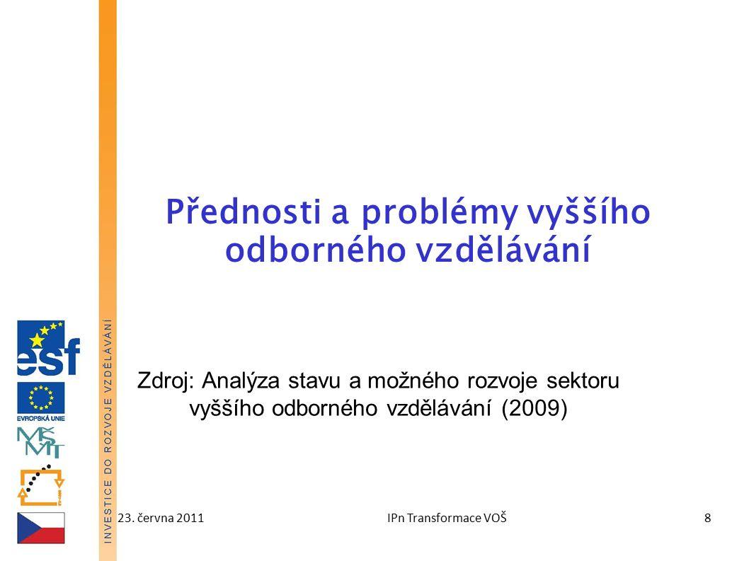 23. června 2011IPn Transformace VOŠ8 Přednosti a problémy vyššího odborného vzdělávání Zdroj: Analýza stavu a možného rozvoje sektoru vyššího odbornéh
