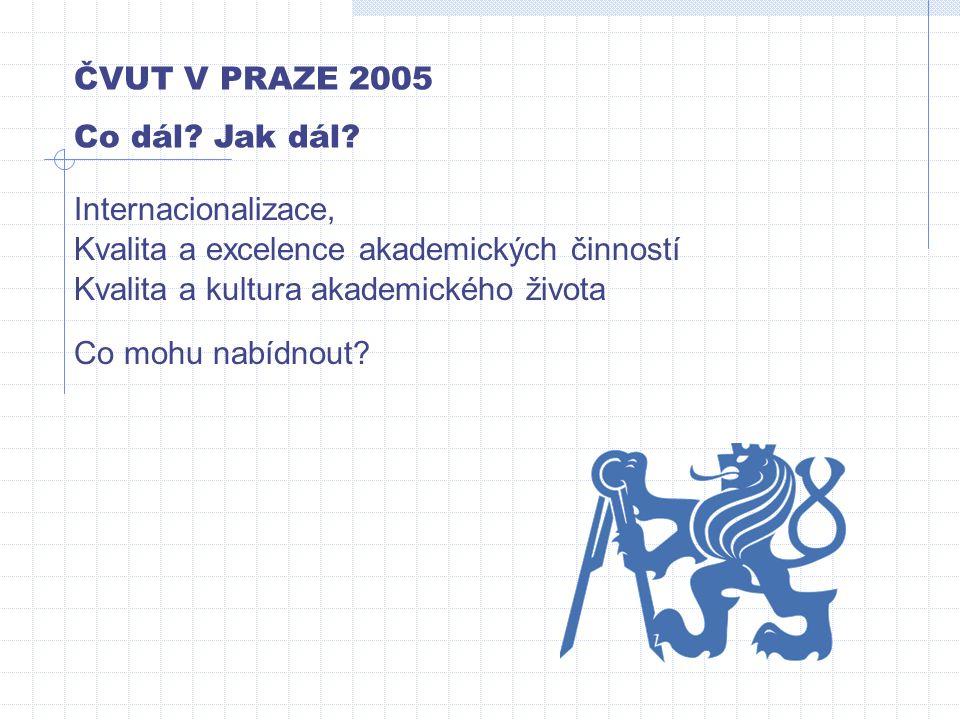 ČVUT V PRAZE 2005 Co dál? Jak dál? Co mohu nabídnout? Internacionalizace, Kvalita a excelence akademických činností Kvalita a kultura akademického živ