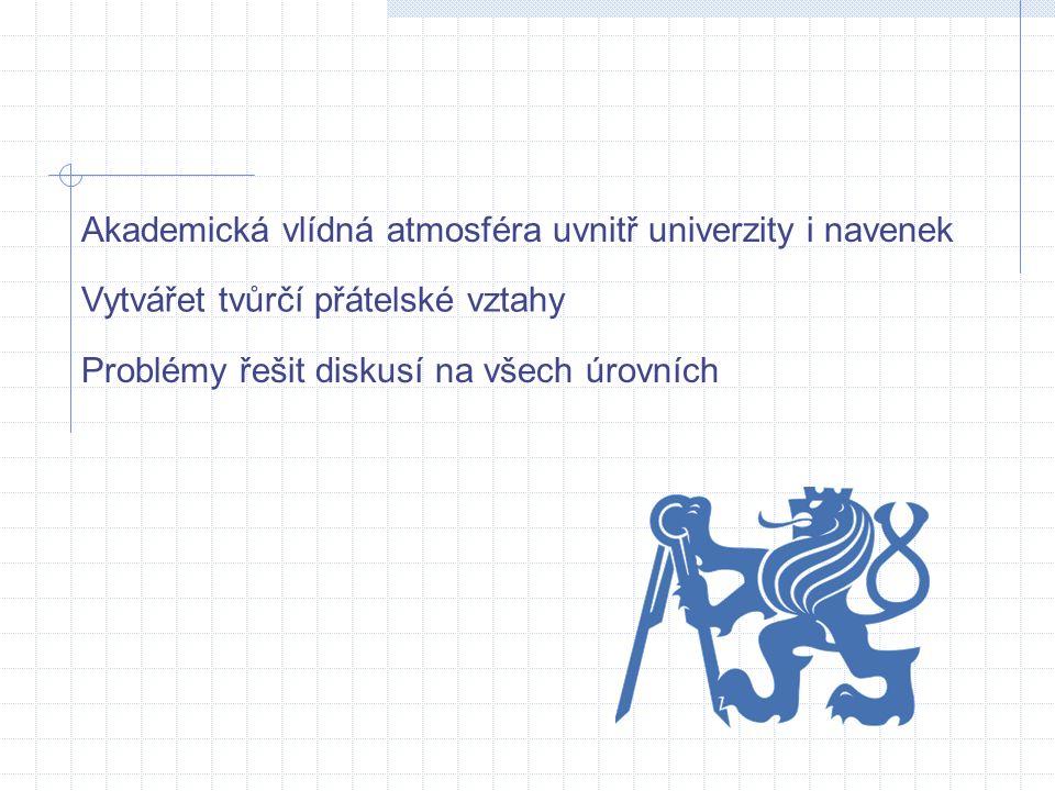 Akademická vlídná atmosféra uvnitř univerzity i navenek Vytvářet tvůrčí přátelské vztahy Problémy řešit diskusí na všech úrovních