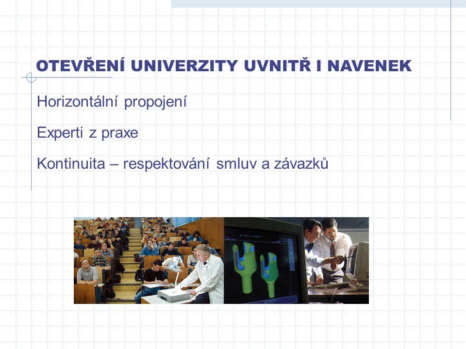 OTEVŘENÍ UNIVERZITY UVNITŘ I NAVENEK Kontinuita – respektování smluv a závazků Experti z praxe Horizontální propojení