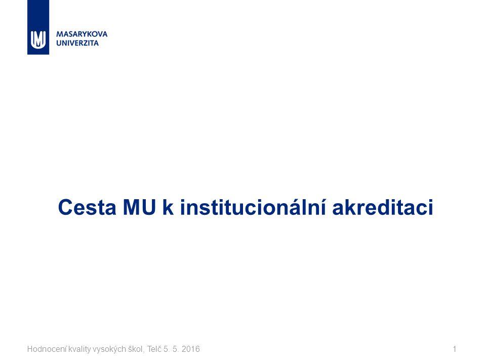 Hodnocení kvality vysokých škol, Telč 5. 5. 20161 Cesta MU k institucionální akreditaci