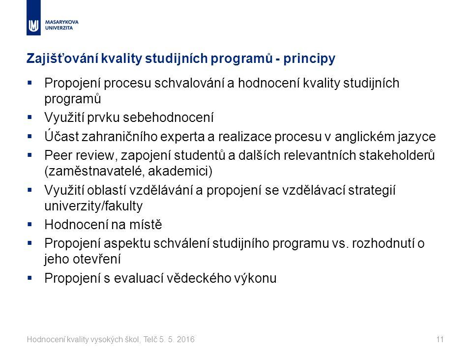 Zajišťování kvality studijních programů - principy  Propojení procesu schvalování a hodnocení kvality studijních programů  Využití prvku sebehodnocení  Účast zahraničního experta a realizace procesu v anglickém jazyce  Peer review, zapojení studentů a dalších relevantních stakeholderů (zaměstnavatelé, akademici)  Využití oblastí vzdělávání a propojení se vzdělávací strategií univerzity/fakulty  Hodnocení na místě  Propojení aspektu schválení studijního programu vs.