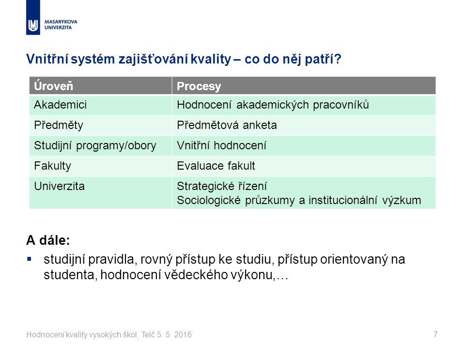 Vnitřní systém zajišťování kvality – co do něj patří.