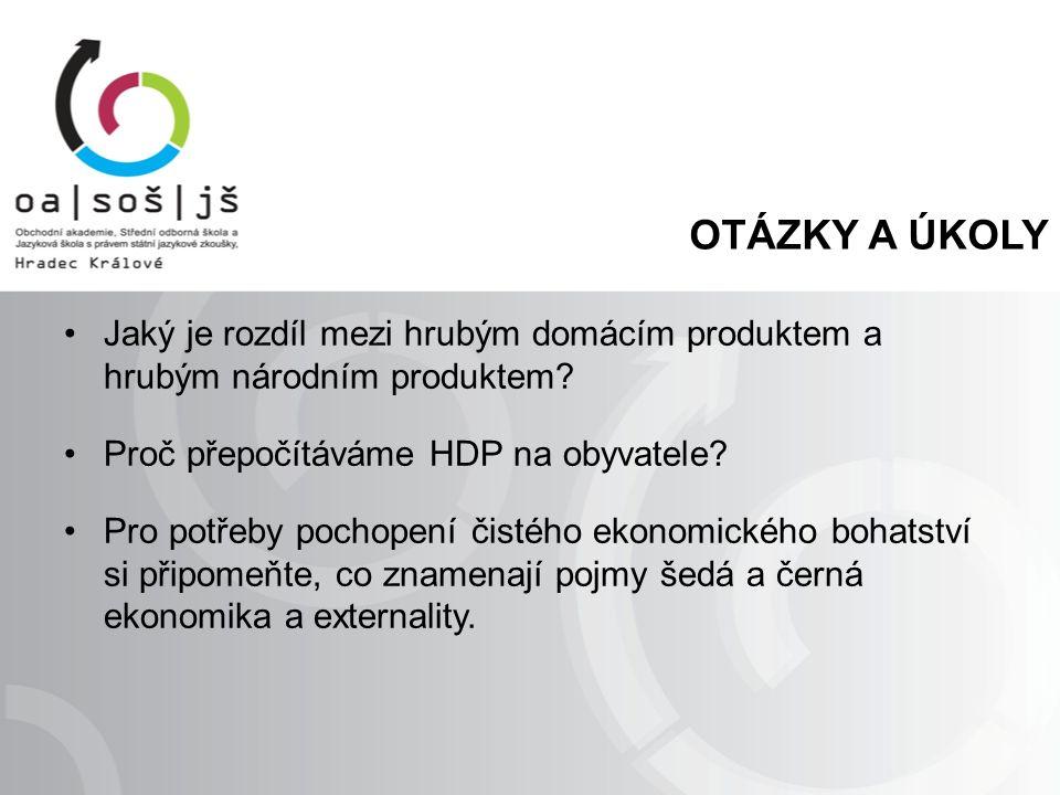 OTÁZKY A ÚKOLY Jaký je rozdíl mezi hrubým domácím produktem a hrubým národním produktem? Proč přepočítáváme HDP na obyvatele? Pro potřeby pochopení či