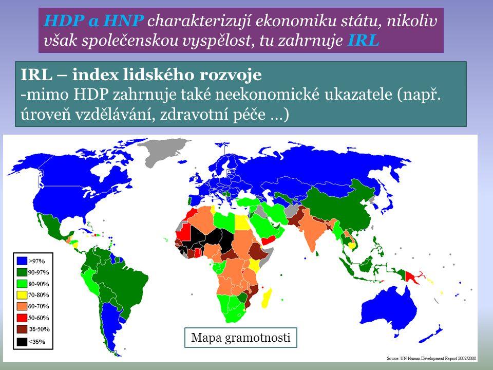 HDP a HNP charakterizují ekonomiku státu, nikoliv však společenskou vyspělost, tu zahrnuje IRL IRL – index lidského rozvoje -mimo HDP zahrnuje také neekonomické ukazatele (např.