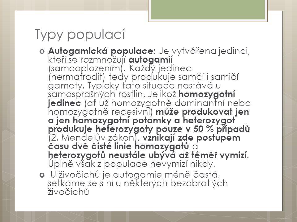 Typy populací  Autogamická populace: Je vytvářena jedinci, kteří se rozmnožují autogamií (samooplozením). Každý jedinec (hermafrodit) tedy produkuje