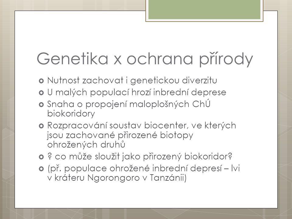 Genetika x ochrana přírody  Nutnost zachovat i genetickou diverzitu  U malých populací hrozí inbrední deprese  Snaha o propojení maloplošných ChÚ b
