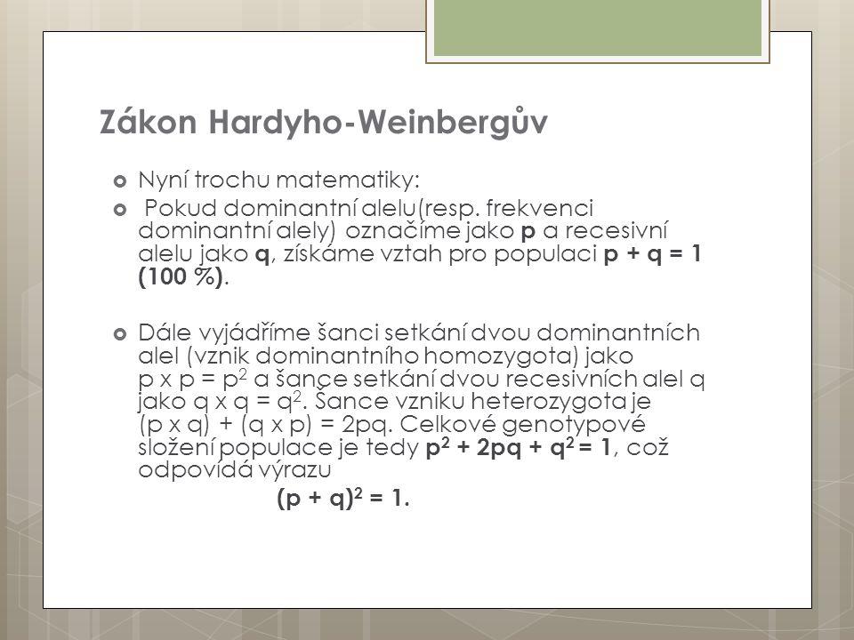 Zákon Hardyho-Weinbergův  Nyní trochu matematiky:  Pokud dominantní alelu(resp. frekvenci dominantní alely) označíme jako p a recesivní alelu jako q