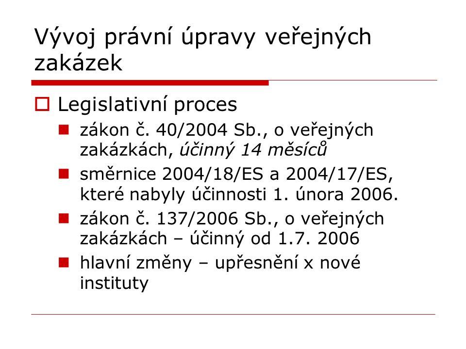 Vývoj právní úpravy veřejných zakázek  Legislativní proces zákon č.