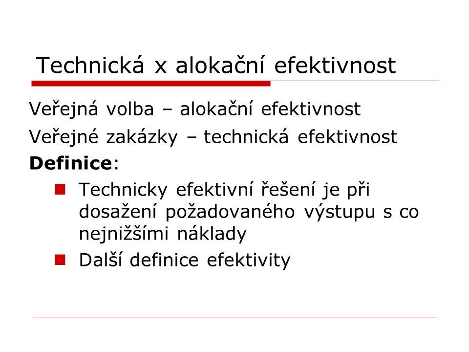 Technická x alokační efektivnost Veřejná volba – alokační efektivnost Veřejné zakázky – technická efektivnost Definice: Technicky efektivní řešení je při dosažení požadovaného výstupu s co nejnižšími náklady Další definice efektivity