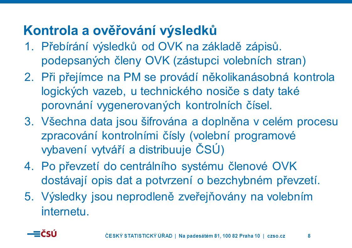 ČESKÝ STATISTICKÝ ÚŘAD | Na padesátém 81, 100 82 Praha 10 | czso.cz8 Kontrola a ověřování výsledků 1.Přebírání výsledků od OVK na základě zápisů.