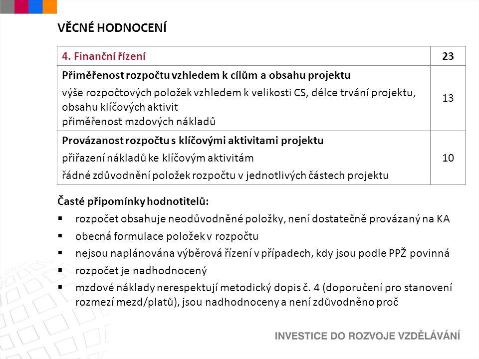 VĚCNÉ HODNOCENÍ 4. Finanční řízení23 Přiměřenost rozpočtu vzhledem k cílům a obsahu projektu výše rozpočtových položek vzhledem k velikosti CS, délce
