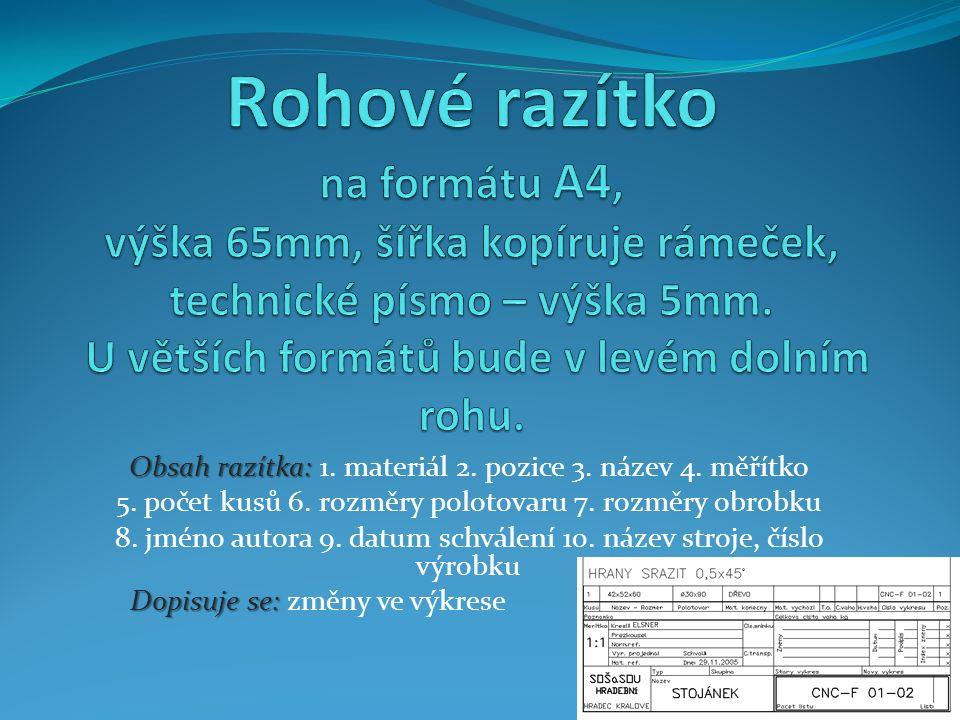 Obsah razítka: Obsah razítka: 1. materiál 2. pozice 3.