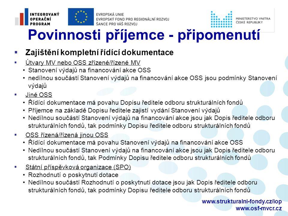 www.strukturalni-fondy.cz/iop www.osf-mvcr.cz Povinnosti příjemce - připomenutí  Výběrová řízení  Kontrola zadávací dokumentace – předložit na OSF minimálně 10 PD před zveřejněním  Pozvání na zasedání hodnotící komise – 7 PD před jeho konáním (výzva č.