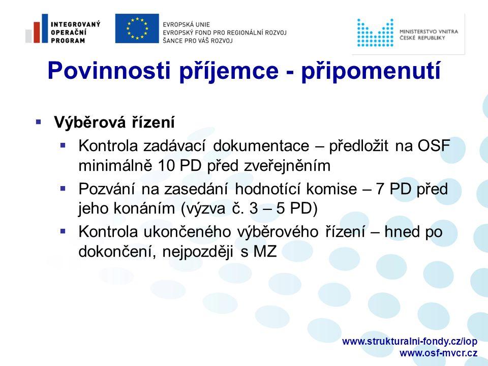 www.strukturalni-fondy.cz/iop www.osf-mvcr.cz Aktuality v IOP – využití úspor  Úspora = rozdíl mezi předpokládanou hodnotou veřejné zakázky a skutečně vysoutěženou cenou  Lze využít na dosud neuskutečněná VŘ, příp.