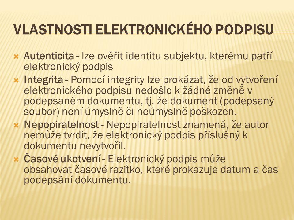 VLASTNOSTI ELEKTRONICKÉHO PODPISU  Autenticita - lze ověřit identitu subjektu, kterému patří elektronický podpis  Integrita - Pomocí integrity lze p