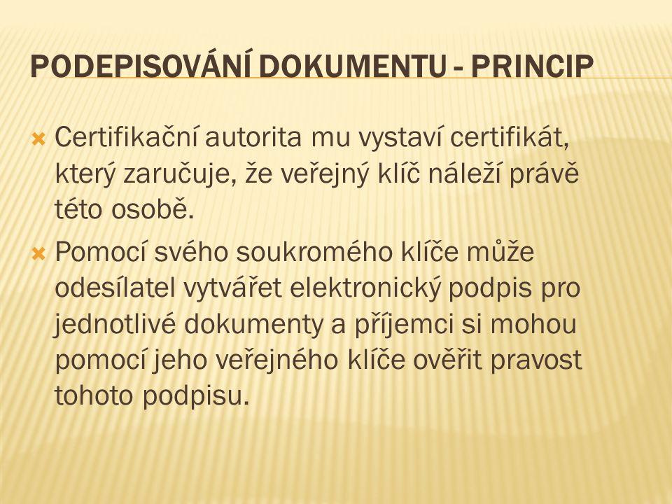 PODEPISOVÁNÍ DOKUMENTU - PRINCIP  Certifikační autorita mu vystaví certifikát, který zaručuje, že veřejný klíč náleží právě této osobě.  Pomocí svéh