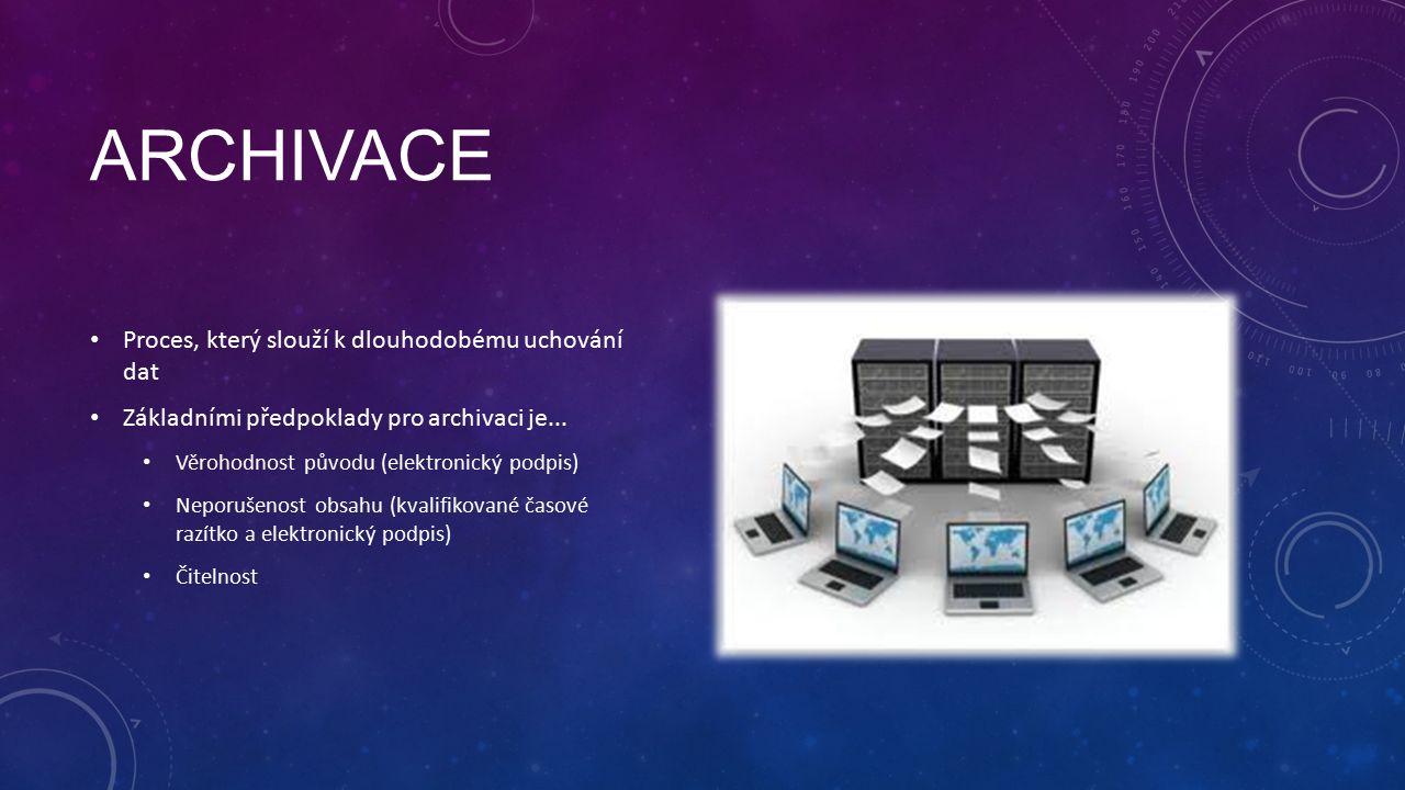 ARCHIVACE Proces, který slouží k dlouhodobému uchování dat Základními předpoklady pro archivaci je...