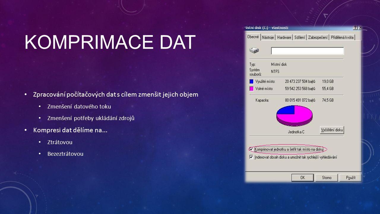 KOMPRIMACE DAT Zpracování počítačových dat s cílem zmenšit jejich objem Zmenšení datového toku Zmenšení potřeby ukládání zdrojů Kompresi dat dělíme na...