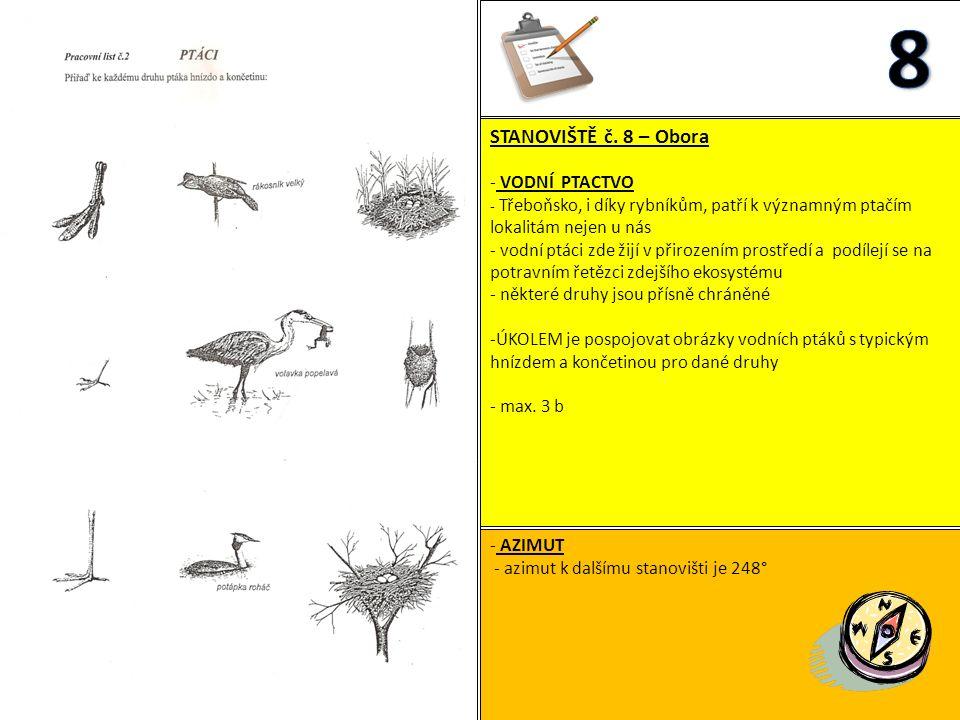 STANOVIŠTĚ č. 8 – Obora - VODNÍ PTACTVO - Třeboňsko, i díky rybníkům, patří k významným ptačím lokalitám nejen u nás - vodní ptáci zde žijí v přirozen