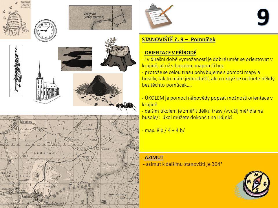 STANOVIŠTĚ č. 9 – Pomníček - ORIENTACE V PŘÍRODĚ - i v dnešní době vymožeností je dobré umět se orientovat v krajině, ať už s busolou, mapou či bez -