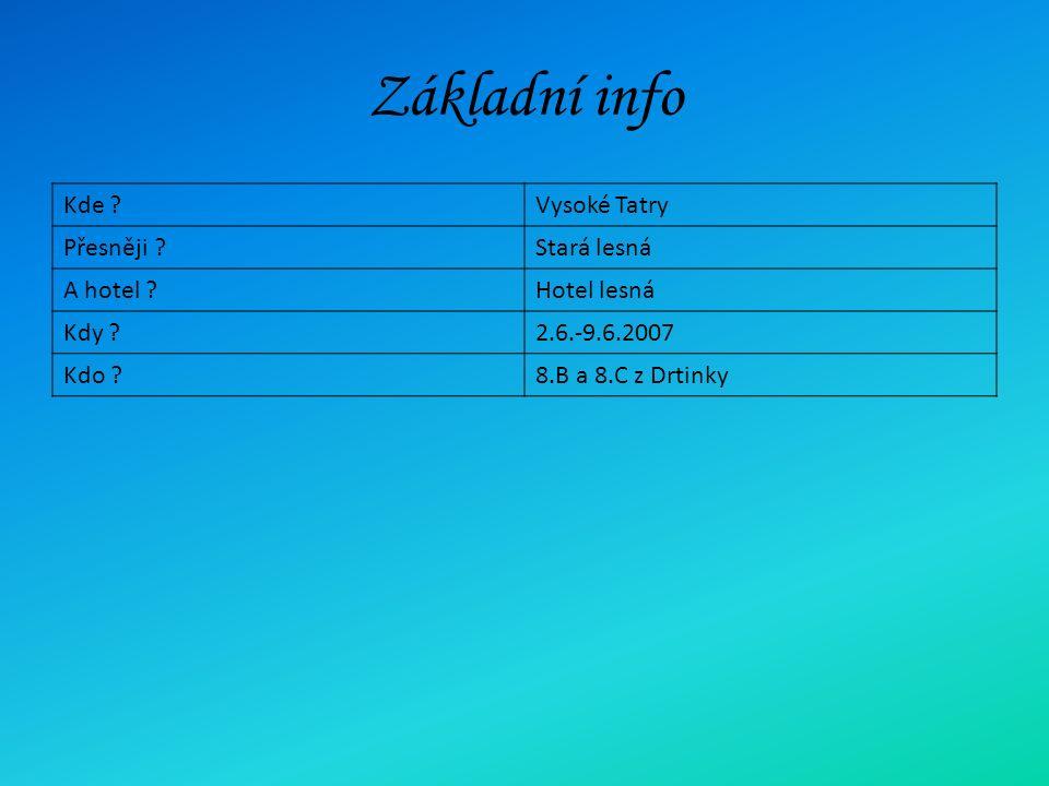 Základní info Kde Vysoké Tatry Přesněji Stará lesná A hotel Hotel lesná Kdy 2.6.-9.6.2007 Kdo 8.B a 8.C z Drtinky