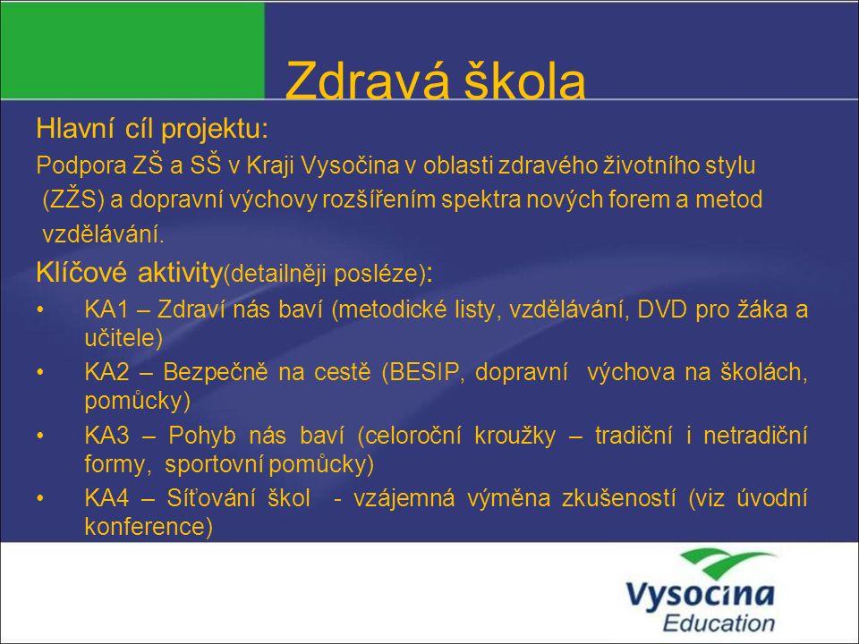 Zdravá škola Hlavní cíl projektu: Podpora ZŠ a SŠ v Kraji Vysočina v oblasti zdravého životního stylu (ZŽS) a dopravní výchovy rozšířením spektra nový