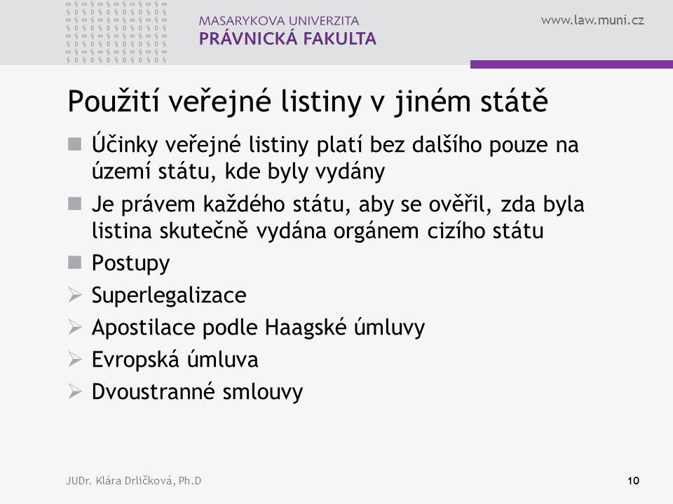 www.law.muni.cz JUDr. Klára Drličková, Ph.D10 Použití veřejné listiny v jiném státě Účinky veřejné listiny platí bez dalšího pouze na území státu, kde