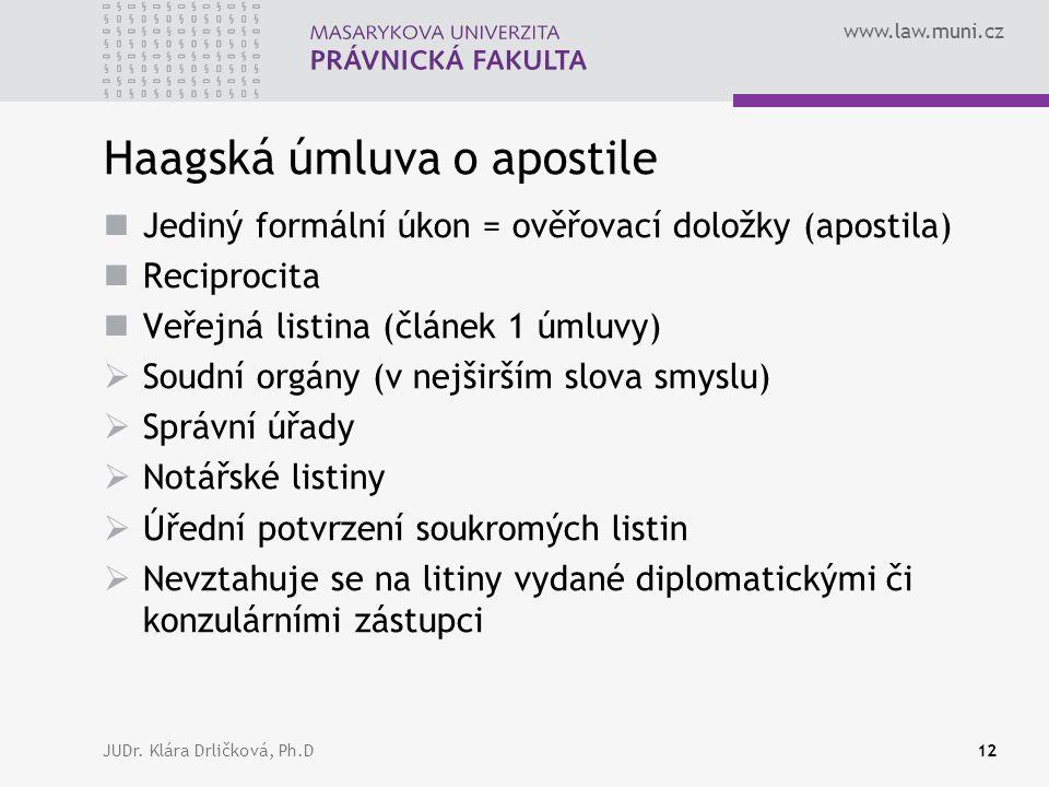 www.law.muni.cz JUDr. Klára Drličková, Ph.D12 Haagská úmluva o apostile Jediný formální úkon = ověřovací doložky (apostila) Reciprocita Veřejná listin