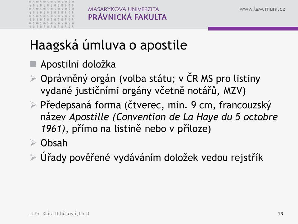 www.law.muni.cz JUDr. Klára Drličková, Ph.D13 Haagská úmluva o apostile Apostilní doložka  Oprávněný orgán (volba státu; v ČR MS pro listiny vydané j