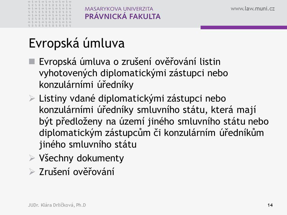 www.law.muni.cz JUDr. Klára Drličková, Ph.D14 Evropská úmluva Evropská úmluva o zrušení ověřování listin vyhotovených diplomatickými zástupci nebo kon