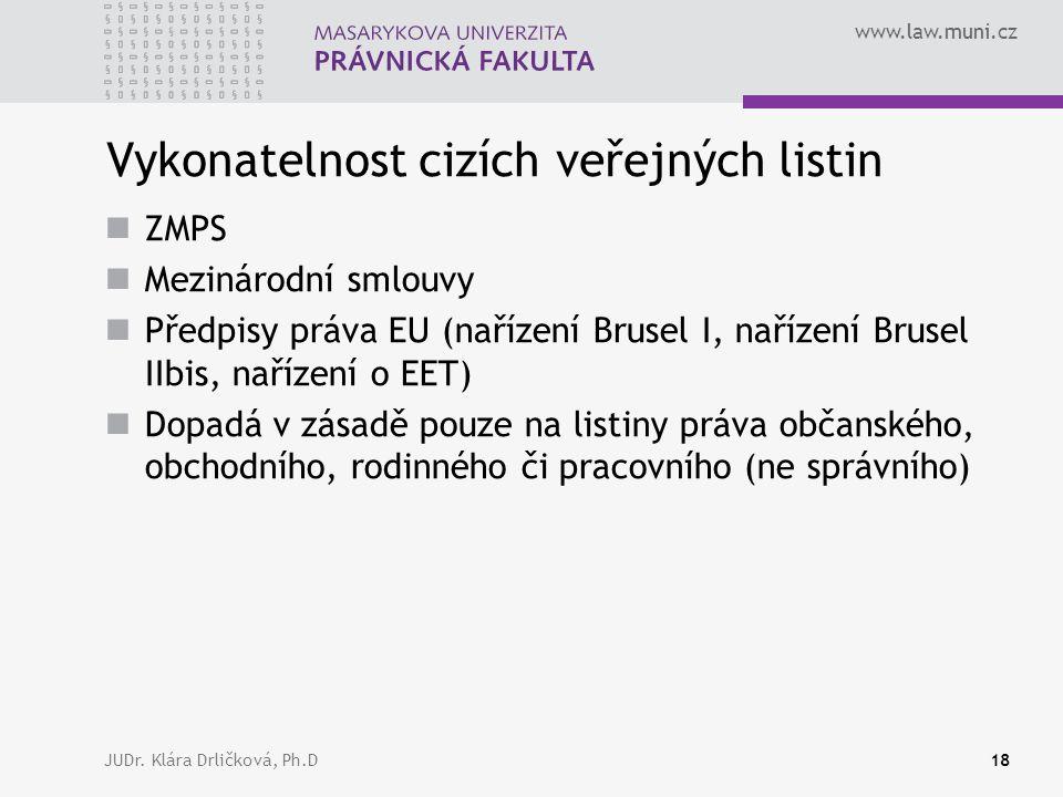 www.law.muni.cz JUDr. Klára Drličková, Ph.D18 Vykonatelnost cizích veřejných listin ZMPS Mezinárodní smlouvy Předpisy práva EU (nařízení Brusel I, nař