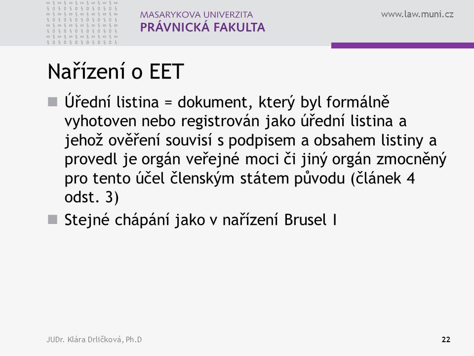www.law.muni.cz JUDr. Klára Drličková, Ph.D22 Nařízení o EET Úřední listina = dokument, který byl formálně vyhotoven nebo registrován jako úřední list
