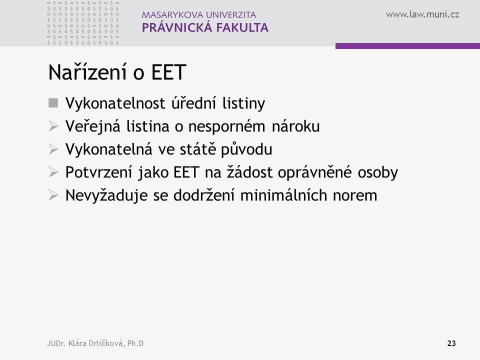 www.law.muni.cz JUDr. Klára Drličková, Ph.D23 Nařízení o EET Vykonatelnost úřední listiny  Veřejná listina o nesporném nároku  Vykonatelná ve státě