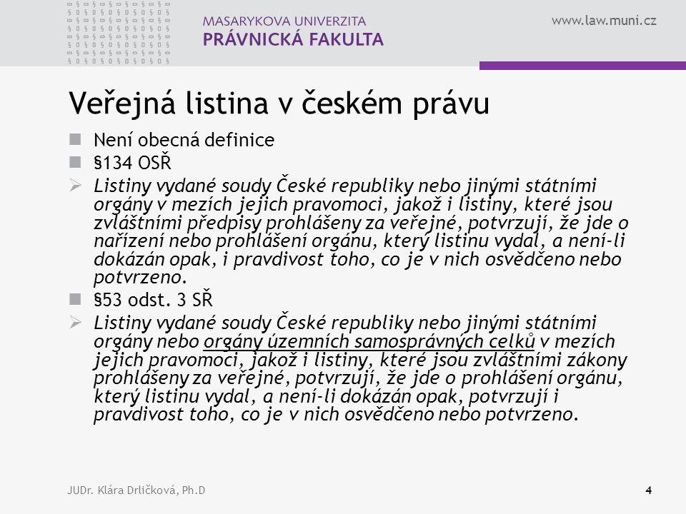www.law.muni.cz JUDr. Klára Drličková, Ph.D4 Veřejná listina v českém právu Není obecná definice §134 OSŘ  Listiny vydané soudy České republiky nebo