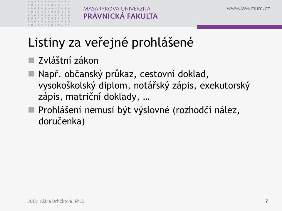 www.law.muni.cz JUDr. Klára Drličková, Ph.D7 Listiny za veřejné prohlášené Zvláštní zákon Např. občanský průkaz, cestovní doklad, vysokoškolský diplom