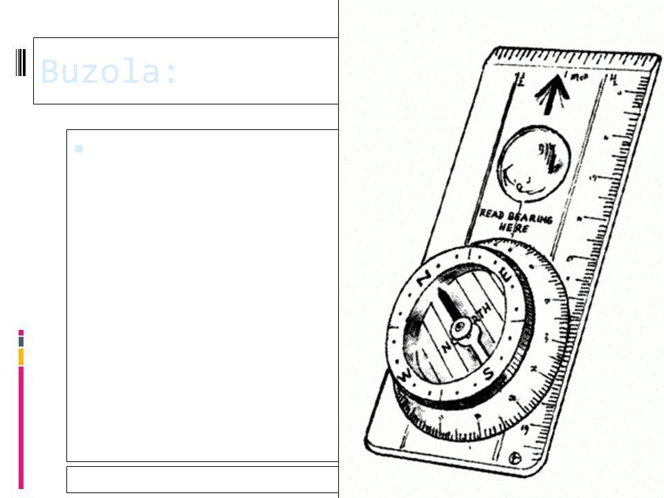 28.9.2016 Buzola:  Buzola (také busola) je jednoduchý přístroj, který slouží k orientaci v terénu, určování světových stran a měření azimutu.